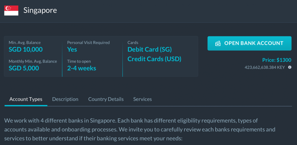 Singapore Bank Account