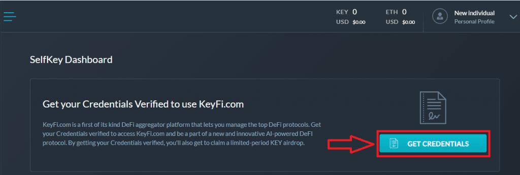 SelfKey Credentials - Dashboard SS