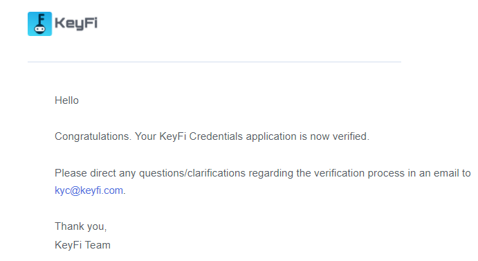 SelfKey Credentials - Confirmation Email