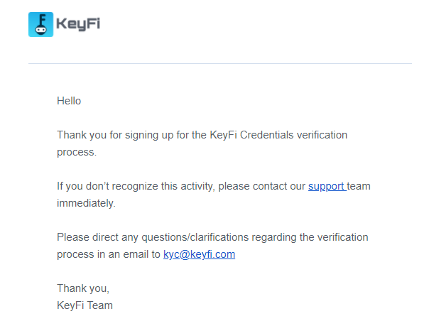 SelfKey Credentials - Process email