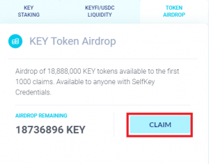 KEY Airdrop - Claim page